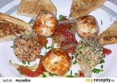 Naložené sýrové kuličky recept - TopRecepty.cz Eggs, Breakfast, Food, Morning Coffee, Essen, Egg, Meals, Yemek, Egg As Food