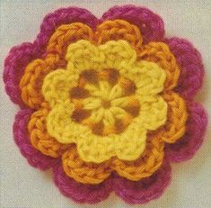Beautiful crochet flower with three layers. Irish Lace Motif.