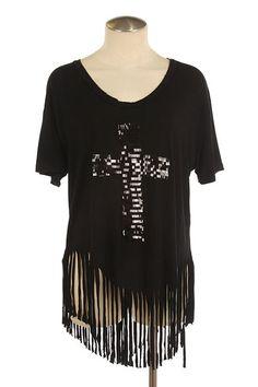 Black Fringed Hem Sequin Cross Tunic Top