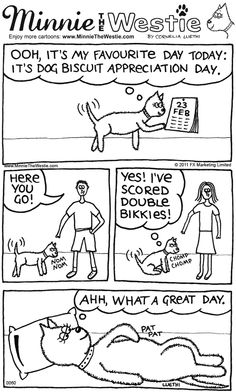 Westie cartoon: It's Dog Biscuit Appreciation Day!