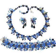 Vintage Kramer Set Blue Rhinestone Crystal Dangles Necklace Bracelet Earrings from The Vintage Carousel on Ruby Lane