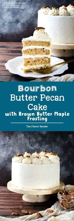 Spiced Bourbon Butter Pecan Cake with Brown Butter Maple Frosting - A fall cake that's perfect for thanksgiving dessert. Flavors of a pecan pie in a cake with nutty, sweet and spiced flavors. via @theflavorbender