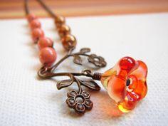 Orange copper flower necklace
