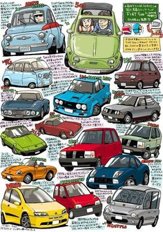 FIAT depuis 1957, en dessins, par sky.geocities, Japon. De la 500 (La Bambina) au Multipla 1998 (déconcertant!).