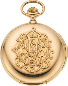 Timepieces:Pocket (pre 1900) , Swiss Massive 18k Rose Gold Minute Repeating Hunters Case, circa1900. ... Image #1
