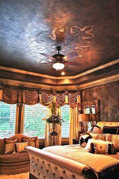 Raised silver leaf custom stencil pattern ceiling from Modello Designs and Royal Design Studio. Work by Tiffany Alexander.