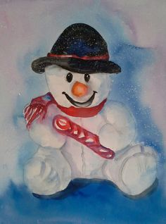 xmas-snowman.jpg (Painting) by Agnes Mclaughlin