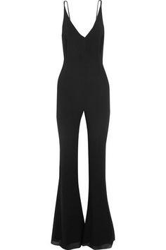 Black stretch-silk crepe de chine Concealed zip fastening along back 95% silk, 5% Lycra Dry clean