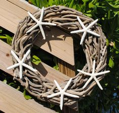Large Starfish Driftwood Wreath (5 starfish) from oceanstyles.com