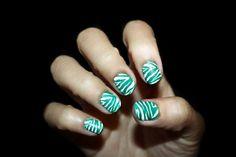 Teal Zebra Stripe Nail Design