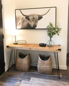 Shanty's Tutorials DIY Hairpin Console Table - Shanty 2 Chic Landscapes Of England: Brean As a child Furniture Plans, Furniture Makeover, Wood Furniture, Diy Home Furniture, Outdoor Furniture, Furniture Projects, Tables Étroites, Hall Tables, Industrial Console Tables