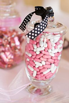 Pretty in Pink party. Pink and white candy in jars. Eat Pretty, Pretty In Pink, Candy Jars, Candy Buffet, Candyland, Pink Parties, Birthday Parties, 13th Birthday, Birthday Ideas