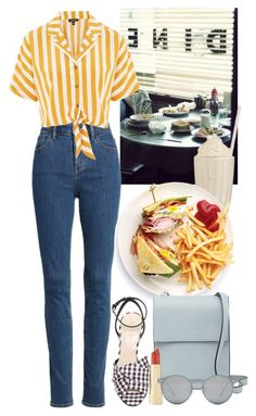 """Diner"" by beetlescarab ❤ liked on Polyvore featuring Treasure & Bond, Topshop, Nine West, French Connection, Axiology, Spitfire, cute, stripes, food and roadtrip"