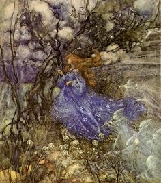 (Nicola, entering the vale of the fairies.  Though, her hair should be black.)  A Fairy - A Midsummer Night's Dream, 1906