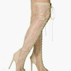 Cape Robbin Beige Lace Thigh High Boots Brand new size 10 never even tried on thigh high beige/nude lacy, peep toe, front lace up which makes it easy to adjust regardless if your thigh size, back zip, suede trim boots from Cape Robbin. Style is called Olga-YH-1. Stiletto heel measures 4.5 inches. Comes in original box. Cape Robbin  Shoes Over the Knee Boots