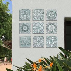 9 TILES SET to create unique garden sculpture, Outdoor wall art, Aqua tiles for garden decor, large wall art installation boho art Aqua Outdoor Wall Art, Outdoor Tiles, Suzani Fabric, Ceramic Wall Art, Tile Murals, Handmade Tiles, Unique Gardens, Decorative Tile, Large Wall Art