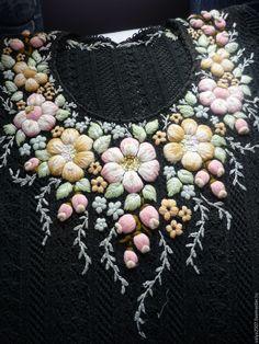 Купить Платье ,сарафан, туника ручная вышивка - разноцветный, цветочный, лён, хлопок, мулине, вискоза