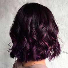 Wavy Black Bob With Purple Balayage