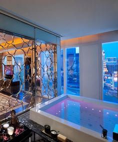The Mandarin-Oriental Las Vegas. The bathroom inside the 3,100 foot Mandarin Suite on the 22nd floor has floor-to-ceiling windows overlooking  the Strip.