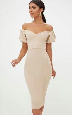 Stone Balloon Sleeve Bardot Midi DressIn a flattering midi fit, this stunning bardot beauty is th. Simple Dresses, Elegant Dresses, Pretty Dresses, Vintage Dresses, Beautiful Dresses, Short Dresses, Prom Dresses, Summer Dresses, Formal Dresses