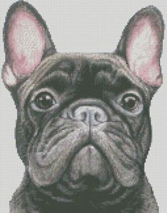 Cross Stitch Chart o Kit completo del Bulldog francese Beaded Cross Stitch, Modern Cross Stitch, Cross Stitch Charts, Cross Stitch Designs, Cross Stitch Patterns, Crochet C2c, Black French Bulldogs, Gifts For Pet Lovers, Cat Gifts