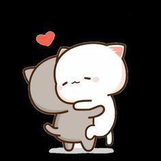 Love Cartoon Couple, Cat Couple, Cute Love Cartoons, Cute Love Memes, Cute Love Pictures, Cute Cartoon Pictures, Cute Images, Hug Cartoon, Cartoon Gifs