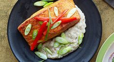 The easiest way to cook salmon filets? Pop those babies under a broiler. Also, have you guys heard that eggplant puree is the new mashed potatoes? We're into it.  Get the recipe »  - GoodHousekeeping.com