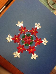 Poinsettia Snowflake Ornament by joanscrafts on Etsy https://www.etsy.com/listing/201456617/poinsettia-snowflake-ornament