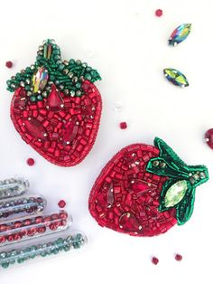 Embroidered bead brooch strawberry. Bead jewelry