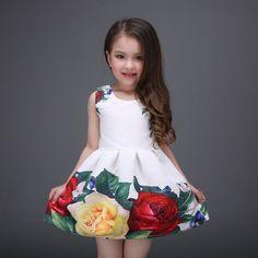 2017 Princess Girls Floral Dresses Summer Baby girl Rose Flower Pattern Dress #babygirlvest