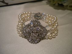 Art Deco Bridal bracelet Multi Strand Cuff Pearl by ohmyliferocks, $48.00