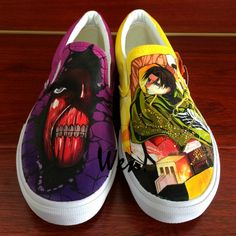 Find this Pin and more on ☸Things for Gift☏. Wen Anime Hand Painted Shoes  Slip On Casual Shoes Custom Design Attack On Titan Men Women s Canvas ... 073a1f828e71