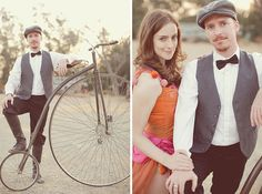 Vintage Circus Engagement Photos Love the pose and faces