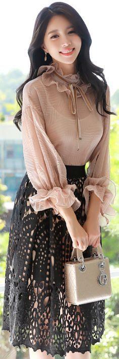 StyleOnme_Eyelet Lace Flared Skirt #black #lace #elegant #skirt #autumn #koreanfashion #kstyle #kfashion #seoul