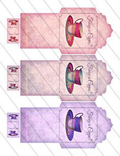 Printable Fancy a Cuppa Tea Bag Holder envelope by VectoriaDesigns Tea Bag Art, Tea Art, Envelopes, Diy And Crafts, Paper Crafts, Tea Packaging, Cuppa Tea, Vintage Ephemera, Digital Collage