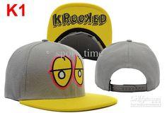 Krooked Eyes Snapback Grey Yellow Adjustable Flat Brim Hats Street ...