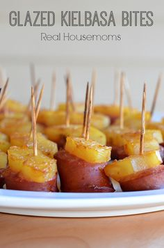 Glazed Kielbasa Bites are a sweet, savory, and delicious appetizer that you just have to try. The best part? They're so easy to make- top kielbasa with pineapple, then brush with a glaze, bake, and enjoy!