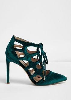 3ef9831d0d0 Emerald velvet cage heels Shoes Heels Boots