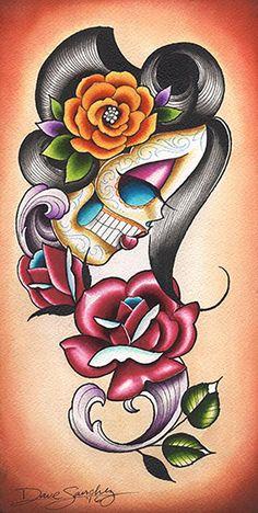 Autumn Rose by Dave Sanchez Sugar Skull Alternative Canvas Art Print Autumn Rose, Lowrider Art, Sugar Skulls, Sugar Skull Artwork, Sugar Skull Tattoos, Body Art Tattoos, Neck Tattoos, Tatoos, Skull Sketch