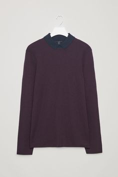 COS image 2 of Merino-wool top with contrast collar in Plum