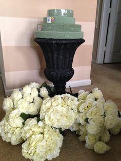 DIY wedding urn with fake flowers