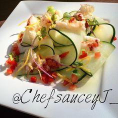 Lemon marinated Lobster on a bed of Ribbon sliced Cucumber garnished w/tomato Concassé lemon zest local micro greens and a splash of Akvavit Dressing  #appetizer #amazing #truecooks #travelchanel #michelin #plating #vegasdining @vegasdining #lobster #gastroart #garnish #Miami @drozeeboi ##Instachef #foodie #microgreens #truecooksfoodporn #amazing @fresh.on.first @vegasdining #vibe #vegAs #top_food_of_instagram #topchef #cuisine #chef #fabulous #Instachef #instafood @canyoucooktv #organicfood…