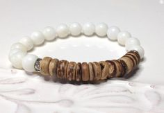 White Jade Stacking Bracelet Coconut Roundel Beads by LoveandLulu