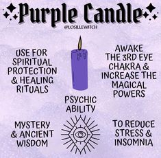 cr: insta @ losillewitch Witch Spell Book, Witchcraft Spell Books, Candle Magic, Candle Spells, Wicca Recipes, Purple Candles, Herbal Magic, Baby Witch, Magic Spells