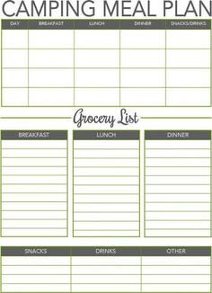 Image result for camping meal plan template