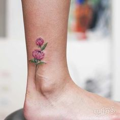 Small Peony Watercolor Flower Foot Tattoo