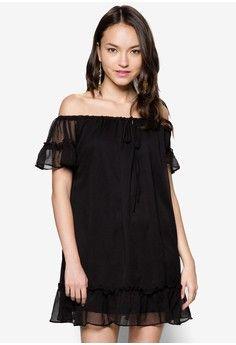 443e000b31c69 Off Shoulder Flare Dress from Something Borrowed in black 1 Something  Borrowed