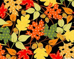 Fall Festival - Folk Art Autumn - Black