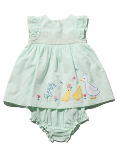 Duck Applique Stripe Smock Dress Smocked Baby Dresses, Girls Dresses, Summer Dresses, Applique Dress, Smock Dress, Summer Baby, Simple Dresses, Baby Shop, Smocking