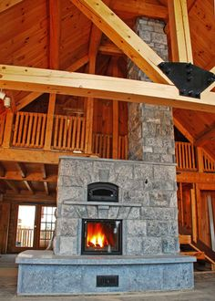 Soapstone masonry stove/heater - burn a fire that will radiate heat for 24 hours (and warm the attached bench) Cabin Homes, Log Homes, Tiny Homes, Dream Homes, Fireplace Remodel, Fireplace Mantels, Dream House Plans, House Floor Plans, Dream Home Design
